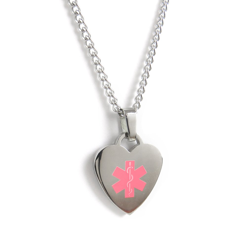 MyIDDr - Penicillin Allergy Medical ID Heart Pendant Necklace Stainless steel, Pre-Engraved Pink My Identity Doctor P5P(Penicillin-Allergy)