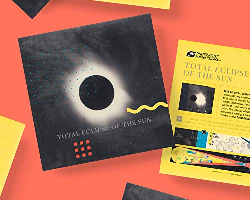 USPS 6 x 9 inch Total Eclipse of The Sun Folio (2018 Solar Eclipse) - Includes Translucent Slip Case to Recreate Phases of Eclipse