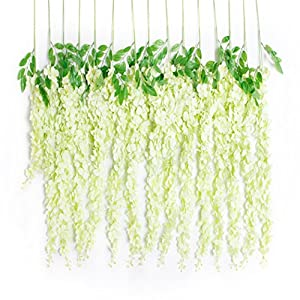 Huata 10PCS 3.2 Feet Artificial Flower Silk Wisteria Vine Ratta Hanging Wedding Decor Garlands 75
