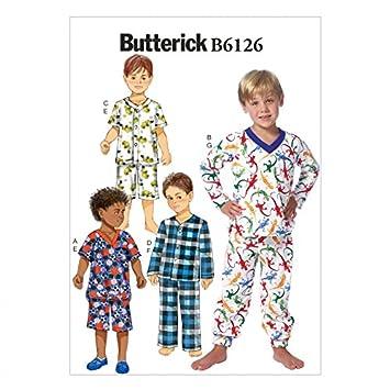 Butterick Schnittmuster 6126 – Jungen Pyjama Oberteile, Shorts ...