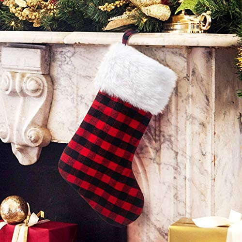 Alapaste 20 Inch Red and Black Plaid Christmas Stocking White Faux Fur Warmly Snowman Stocking for Holiday Party Xmas Tree Hanging Ornaments Gift ()