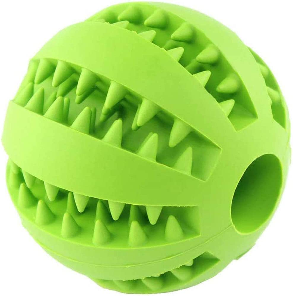Dog Toys Small Dogs Ball Cat Chew Toy Silicone Pet Toys Ball for Dogs Molar Toy Ball Bite Resistant Clean Teeth Food Treat Feeder Iq Training Ball Nontoxic Bite Resistant (M Diameter 2.3 inch Green)