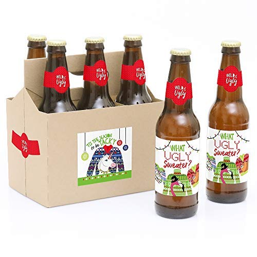 Wild and Ugly Sweater Party - Holiday and Christmas Animals Party Decorations for Women and Men - 6 Beer Bottle Label Stickers and 1 Carrier