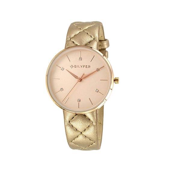 Reloj Bilyfer para Mujer con Correa en Beige y Pantalla en Beige 1F651-CU: Amazon.es: Relojes