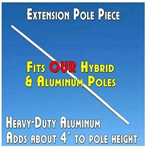 Dual Height 15 or Extra Tall 19 Fusion Pole Set Breakfast Windless Stay-Open Feather Swooper Flag Banner Kit