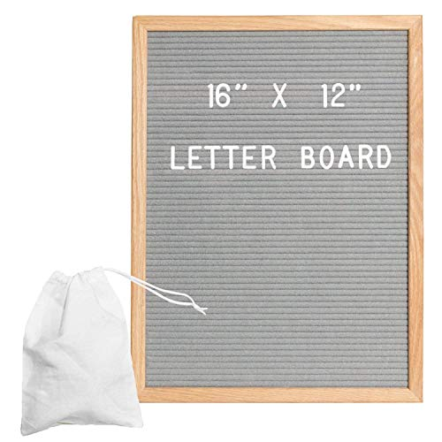 - Gray Felt Letter Board with 650 Letters, Numbers & Symbols - 16 x 12 Inch Changeable Wooden Message Board Sign