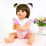 PURSUEBABY Washable Full Body Reborn Toddler Girl Doll Opened Mouth Abby, 22 Inch Adorable Real Life Newborn Baby Dolls for Children Christmas
