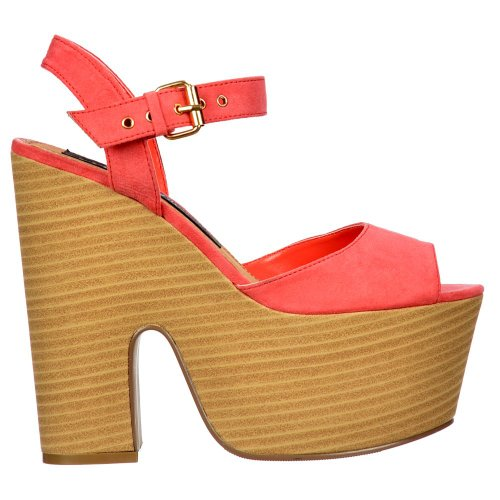 Heels Wooden Women's Suede Two Block Sandals Toe Coral Onlineshoe Coral Summer Effect Tone Peep Suede qYt6wT