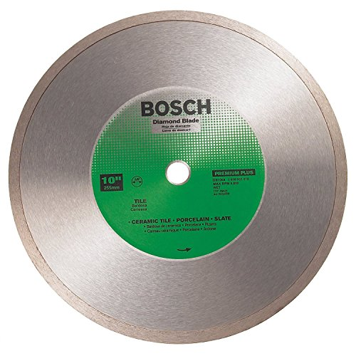 - Bosch DB1066 Premium Plus 10-Inch Wet Cutting Continuous Rim Diamond Saw Blade with 5/8-Inch Arbor for Tile