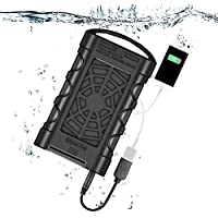 Waterproof Power Bank 10000mAh Portable External Battery Pack USB Charger with Flashlight, Type-C/Qiuck Charge 3.0 for iPhone Samsung Android and other USB-C Devices