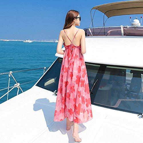 De Pink Collar De Verano Playa Vacaciones Vestido RONG De V Femenino Imprimir XIU Vestido Vestido Vestido Bw8FBq
