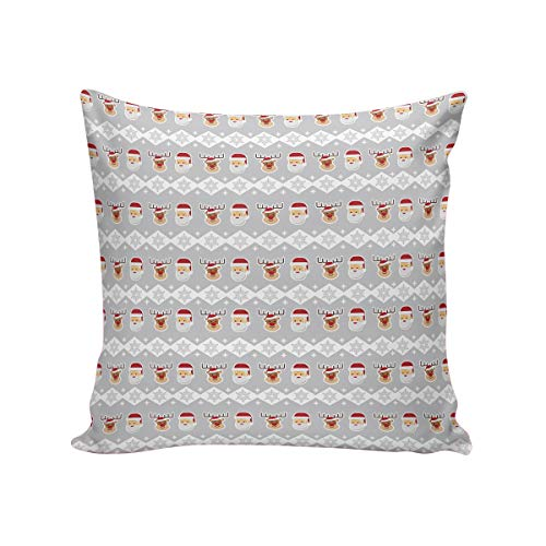 Comfortable Throw Pillow Cover for Bedding, Decorative Accent Cushion Sham Case for Couch Sofa, Soft Solid Satin with Zipper Hidden - 24x24 in, Christmas Grey Background Santa Claus Reindeer Prints (Chicago Bears Santa Pillow)