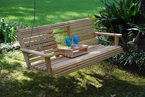 (LA Swings Inc. 5ft Cypress Porch Swing with Flip Down Center Console- Lead Time 5-7 Business Days)