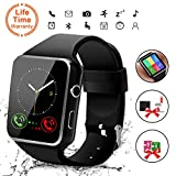 Bluetooth Smart Watch with Camera, Touchscreen Smart Wrist Watch with Sim Card Slot, Camera Controller Bluetooth Watch Unlocked Waterproof Smart Watch for iPhone Android Samsung Men Women (X6-Black)
