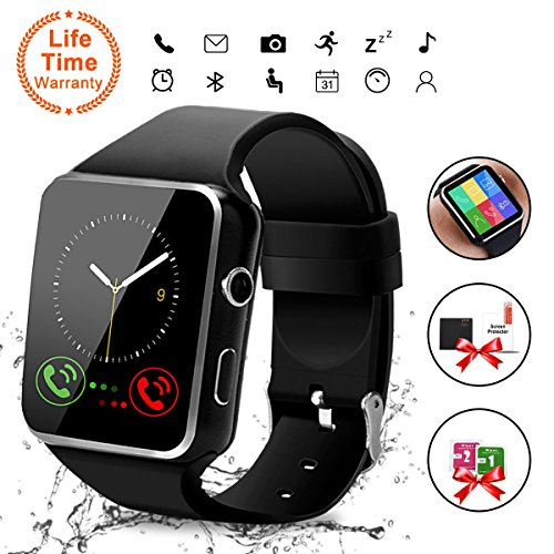 Bluetooth Smart Watch with Camera, Touchscreen Smart Wrist Watch with Sim Card Slot, Camera Controller Bluetooth Watch Unlocked Waterproof Smart Watch for iPhone Android Samsung Men Women (X6-Black) by Topffy