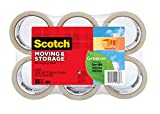 Scotch Greener Long Lasting Moving & Storage Packaging Tape, 1.88 in. x 49.2 yd., Clear, 6 Rolls/Pack