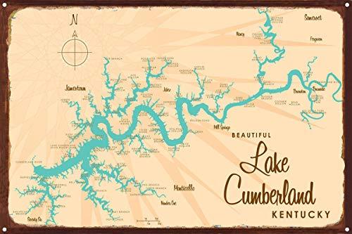 Lake Cumberland Kentucky Vintage-Style Map Rustic Metal Art Print by Lakebound (12