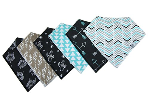 "[Munchkins & Milestones Set of 6 Unisex Baby Bandana Bibs 100% Organic Cotton (Grey, White, Black, and Turquoise) ""Trendy Tot"" Set] (Munchkin Outfits)"