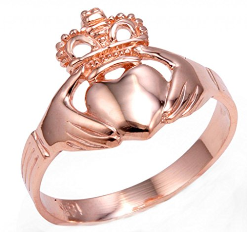 Rose Gold Claddagh Ring Ladies Traditional (7)