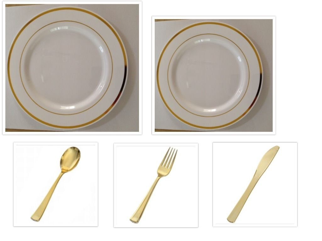 750 Pieces Plastic WHITE w/GOLD Band China Plates and Gold Silverware Combo for 150 people by Plexware Gold Splendor