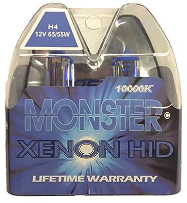 EuroDezigns H4 Monster Blue Headlights - Dual High/Low 10,000K Xenon-Krypton HID Halogen Replacement Bulbs - (Pair)