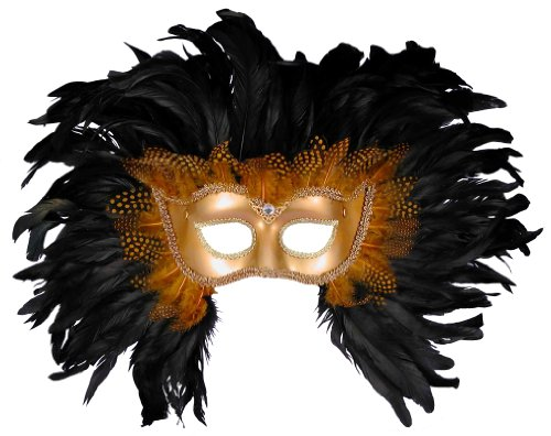 Forum Elaborate Feather Venetian Mask, Gold/Black, One Size (Venetian Mask Costume)