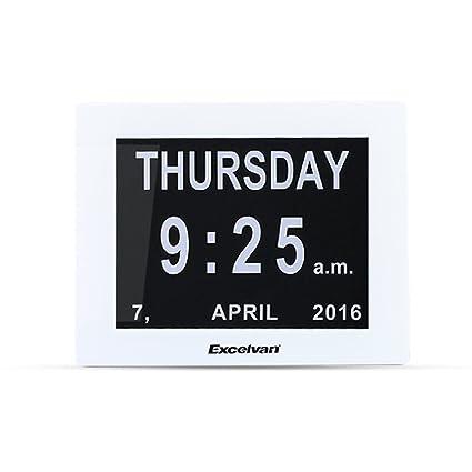 "Excelvan - 8"" Calendario Reloj Digital (Abreviatura de Letras en 8 Idioma, Pantalla"