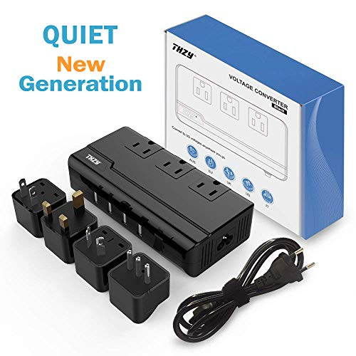 Voltage Converter Travel Adapter, THZY International Step Down 220V to 110V Converter with 4-Port USB Charging, Worldwide Plug Adapter with UK/AU/US/EU/Italy Plug for International Travel