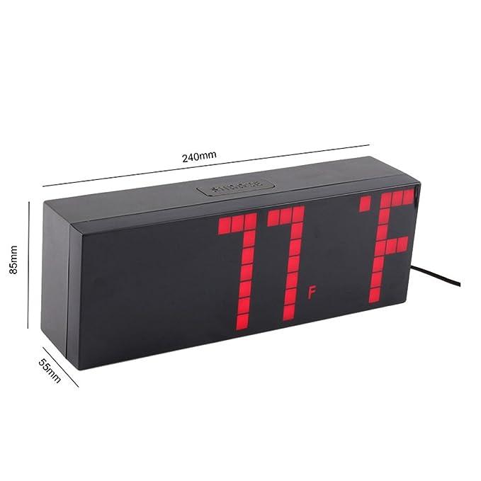 Yosoo Alarma Big Time Relojes LED Digital Reloj Grande LED Alarma Tiempo Relojes Digital Cuenta Atrás Adelante Reloj con Controlador Remoto (Rojo): ...