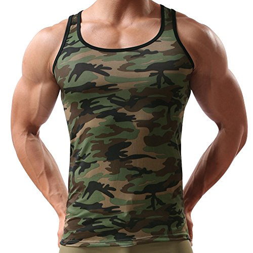 Andy's Share Herren Mann Vest Tops Tank Trainingswest Camouflage Military Sport Outdoor (EU M / Asian L)