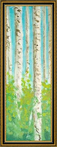 "Framed Canvas Print Wall Art Vibrant Birchwood I by Walt Johnson - 8"" x 24"" Ready to Hang"