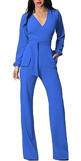 7a923811cd00 Tuta Donna Estiva Elegante Tute Lungo V Scollo Manica Lunga Jumpsuit Tasca  Frontale Puro Colore Pantaloni