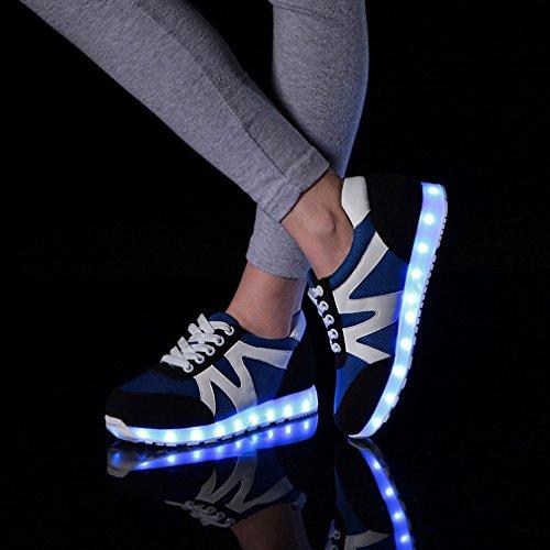 Dayiss 7 Farbwechsel USB Aufladen LED Leuchtend Sneaker Sportschuhe Turnschuhe für Unisex-Erwachsene Herren Damen Blau