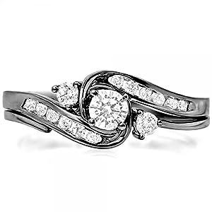 0.50 Carat (ctw) Black Rhodium Plated 10K White Gold Diamond Bridal Ring Set 1/2 CT (Size 8)