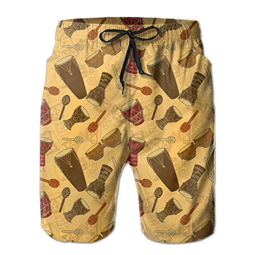 (QD6L54OU African Percussion Mens Quick Dry Swim Trunks with Side Pockets)
