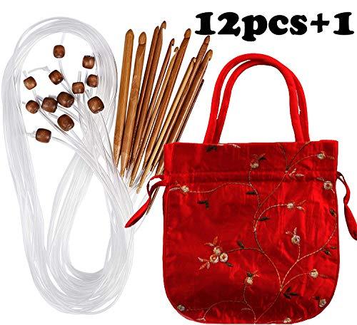 Case of Carbonized Bamboo Crochet Afghan Tunisian Crochet Hooks Set with Plastic Cable Bamboo Crochet Knitting Needles Hooks Kit Yarn Knitting Needles Set Scarf Blanket Garment 12 Sizes ()