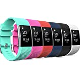 MoKo Fitbit Charge 2 Band, [6 PACK] Soft Silicone Adjustable Replacement Strap for 2016 Fitbit Charge 2 HR Heart Rate + Fitness Wristband, Wrist Length 5.70''-8.26'' (145mm-210mm), 6 Colours