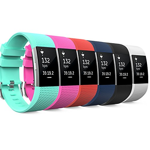 MoKo Fitbit Charge 2 Band, [6 PACK] Soft Silicone Adjustable Replacement Strap for 2016 Fitbit Charge 2 HR Heart Rate + Fitness Wristband, Wrist Length 5.70''-8.26'' (145mm-210mm), 6 Colours by MoKo