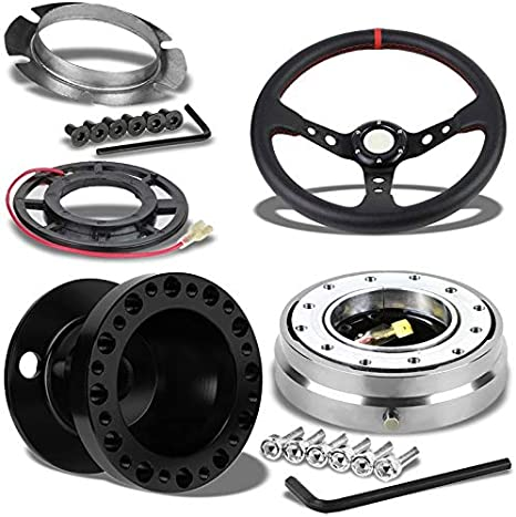 350MM 3 Black Tri-Spoke//Red Stripe Steering Wheel+Black 6-Hole Hub Adapter+Gold Quick Release For 92-95 Integra DC2//Civic EG EH EJ