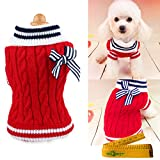 Pet Dog Sweater Knitted Braid Plait Turtleneck Navy Style Bowknot Knitwear Outwear for Dogs & Cats (Red, XS)