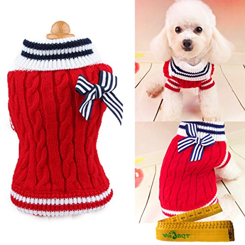 Pet Dog Sweater Knitted Braid Plait Turtleneck Navy Style Bowknot Knitwear Outwear for Dogs & Cats (Red, M)
