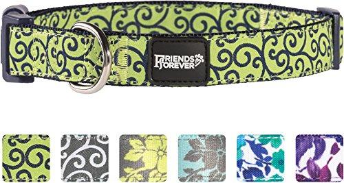 Friends Forever Dog Collar Dogs, Fashion Floral Pattern Cute Puppy Collar, Green Medium 14-20