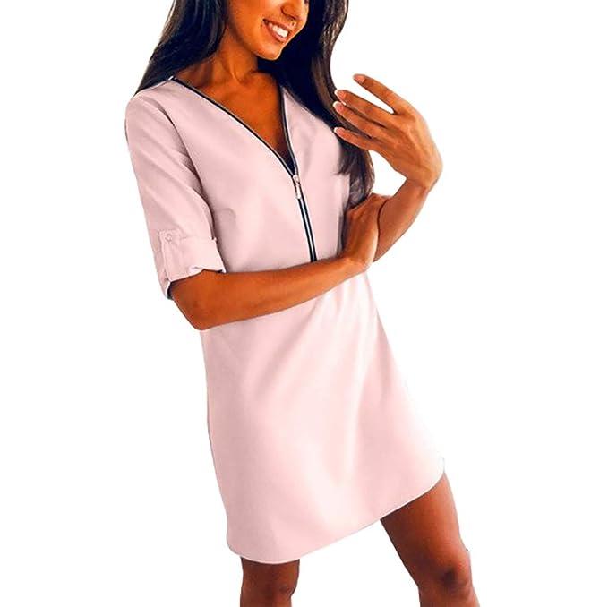 Amazon.com: Camisa de mujer casual con media manga y cuello ...