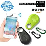 Smart Finder Bluetooth Locator Key Pet Tracker Car Finder Child Locator Device Wireless Seeker Smart Anti Lost Alarm Sensor For Wallet Car Kids Dog Cat Bag Phone Located Selfie Shutter pack of 2