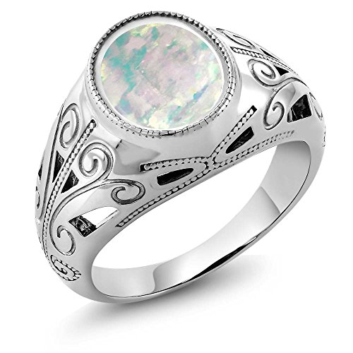 4.00 Ct Oval White Simulated Opal 925 Sterling Silver Men's Ring (Available in size 7, 8, 9, 10, 11, 12, 13)
