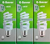 Pack of 3, E-Saver CFL Full Spiral, 15w = 80watt, Warm White 2700k, Compact Fluorescent Lamp, Screw in Cap, Screw Edison (ES) E27, 800 Lumen, T2, 80%-85% Energy Saving Light Bulb, Flicker Free, 10,000 Hours Life Time