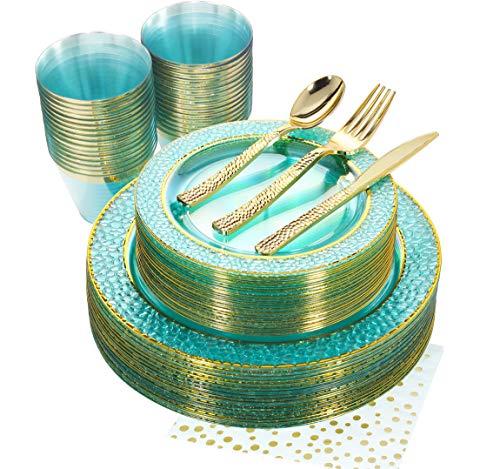 NERVURE 175PCS Mint with Gold Rim Disposable Plastic Plates Set: 25 Dinner Plates,25 Dessert Plates, 25 Forks,25 Knives, 25 Spoons, 25 Cups,25 Napkins.