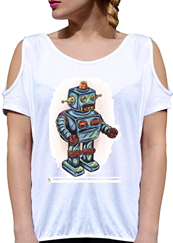 T SHIRT JODE GIRL GGG27 Z3046 ROBOT TOY JAPAN CHILDREN AUTOMATON FUN FASHION COOL BIANCA - WHITE M