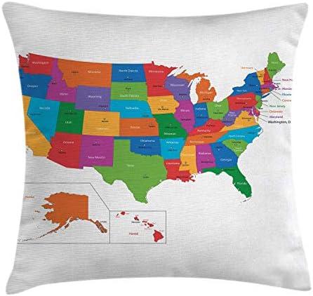放浪癖投げ枕クッションカバー、州と首都のカラフルなアメリカ地図ワシントンフロリダインディアナプリント、装飾スクエアアクセント枕ケース、、ホワイトグリーン 45X45 CM