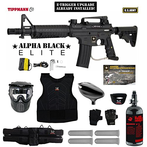 MAddog Tippmann U.S. Army Alpha Black Elite Tactical w/E-Grip Starter Protective HPA Paintball Gun Package - - Proto Rail Accessories
